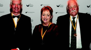 Jane with Ivan Sutherland, left and Mark Nobilo after their induction as Fellows of New Zealand Winegrowers.