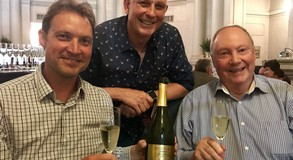 Hunter's Winemaker Inus van der Westhuizen with Logan Brown Managing Director Steve Logan and Brett Newell of EuroVintage at An Evening of Sparkling Wine at Logan Brown.